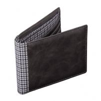 Jacob Jones 73344 Grey Wallet With Grey Checkered Cotton Lining